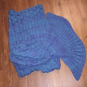 Mermaid tail adult blanket with scales teal purple